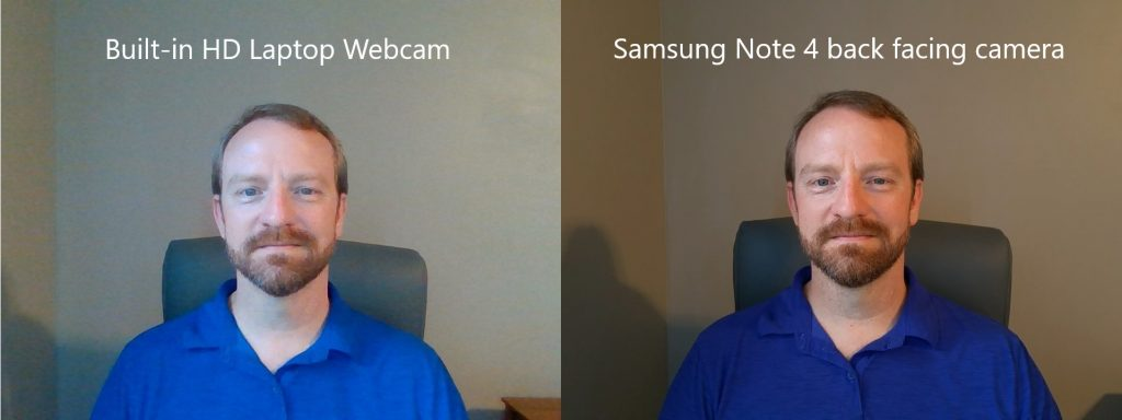 Webcam versus Note 4